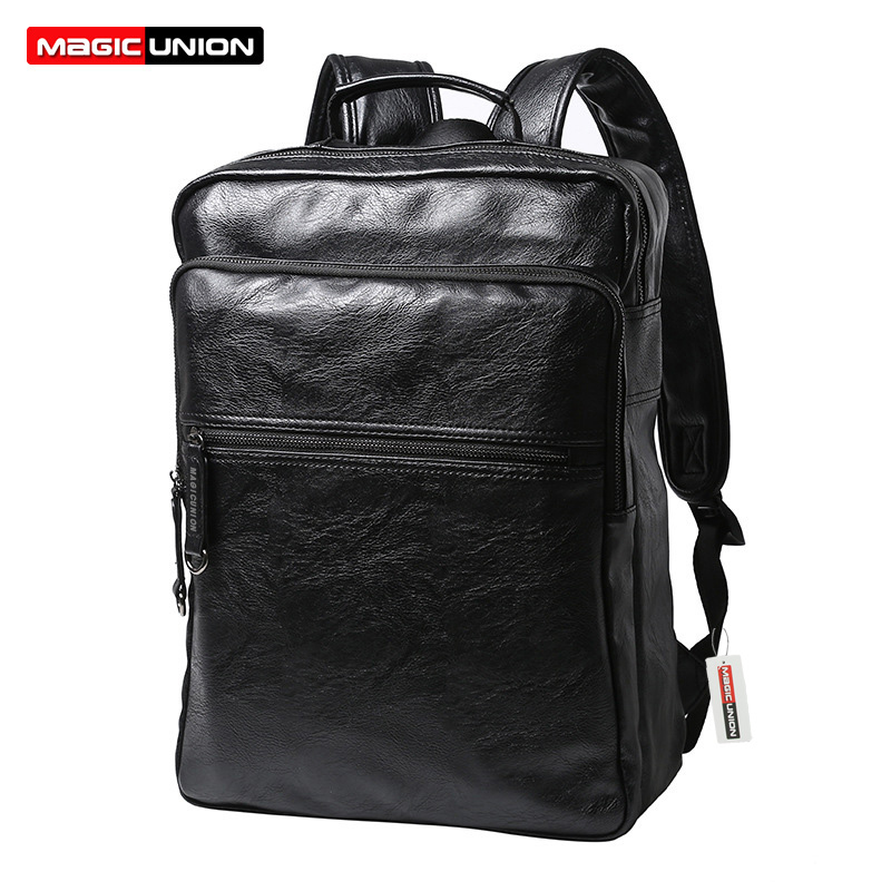 MAGIC UNION Mens Patent Leather Backpacks High Quality Bags Fashion Bag for Men Business Travel Mochila Zip Men Laptop Backpack<br>