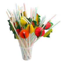 50PCS/Lot 3D Fruit Cocktail Paper Straws Umbrella Drinking Straws Party Wedding Decoration Color Assorted 2017(China)