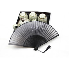 Black Chinese Japanese Folding Hand Held Fan Silk&Bamboo Flower Pocket Fan Party Supplies()