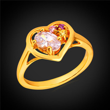 Heart Gold Rings Gold Color Cubic Zirconia Engagement Rings For Women Fashion Jewelry 2016 New R1641