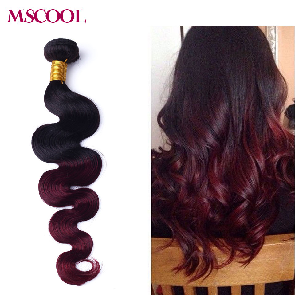 Red Ombre Human Hair Extension Burgundy Brazilian Virgin Hair Body Wave 1pcs  Remy Human Hair Weaves 1B 99j Rosa Hair Products<br><br>Aliexpress