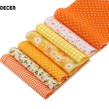 Cotton Fabric Stripes Orange Series Jelly Roll Stripe Tissues Patchwork Fabrics For DIY Handmade Crafts 7PCS/Lot 10X50CM