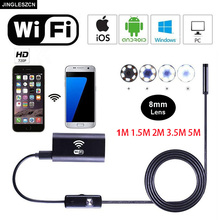 JINGLESZCN Wifi Endoscope 8mm Lens 1/1.5/2/3.5/5m Flexible Hard Cable IOS Android PC Waterproof HD Inspection Borescope Camera