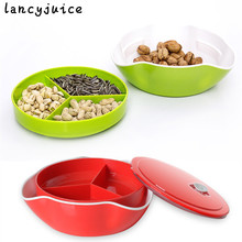 Plastic Double Layer Fruit Plate With Cover Dessert Dishes Snacks Tray Hollowware Food Salver