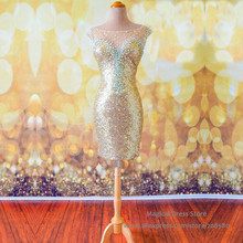 China Short Sequin Gold Bling Cocktail Dress Sheath Robe De Cocktail Courte 2016 Mini Homecoming Dresses for Party S054