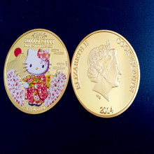 Sample order Gold Plated Hello kitty Coin.40th anniversary SAKURA islands Japan United States Canada souvenir Coin