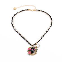 Multi Mixed Gold Color Chain With Rope Twisted Trendy Professional Design Pendant Flower Animal Head Necklace