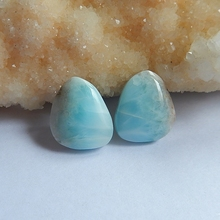Natural Stone Larimar Cabochon pairs 16x14x3mm 4.88g beauty jewelry Larimar cabochon birthday gift accessory(China)