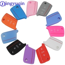 jingyuqin Remote 3 Buttons Car Key Case Cover For VW Golf 7 mk7 Skoda Octavia A7 New Polo Key Portect Case Folding Flid(China)