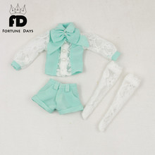 for icy blyth doll jecci five 1/6 30cm Summer suit long sleeved sun green small fresh white clothes(China)