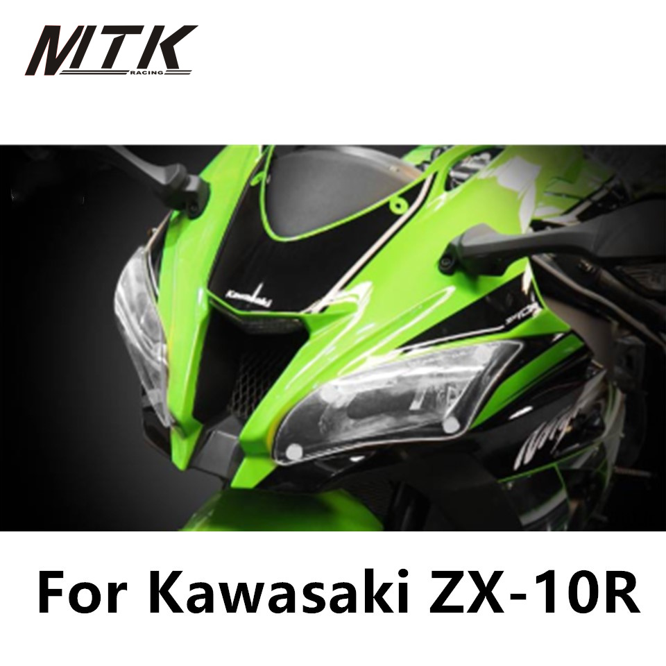 MTKRACING ZX-10R Motorbikes Parts For KAWASASKI ZX 10R Acrylic Headlight Protector Cover Screen Lens<br>
