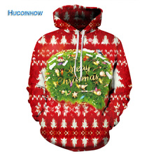 HUCOINHOW Brand Creative Christmas Tree Pattern Digital Print Sport Hooded Sweater Loose Lovers Yoga Jackets Baseball Sportwear(China)