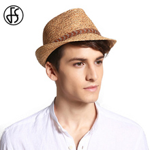 FS Classic Raffia Straw Fedora For Men Cool Panama Hat Male Women 2017 Summer Lady Casual Beach Sun Hats Visor Trilby Cap(China)