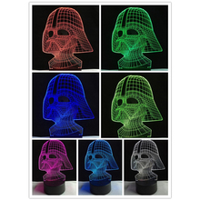 Lave Lampara Star War figure Darth Vader 3D Led Sleeping Nightlight Touch senser USB Table Illusion Mood Dimming Lamp 7 Color