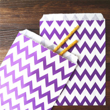 25pcs Paper Bag flat Wedding Party Favor Candy Gift Bags Food Packaging purple Treat Craft Paper Popcorn Bags Food Safe chevron(China)