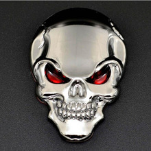 Car Styling 3D Skull Bone Devil Car Stickers Motorcycle Cartoon Tank Badge Metal Decal Sticker Automobiles Accessories New 2017
