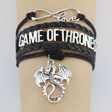Infinity Love Game Ofthr ones Bracelet Dragon Charm Handmade Rope Leather Weave Bangles For Women Men Jewelry