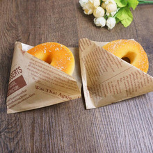 100pcs/lot Trigon Food Bag Oilproof Paper Bag For Sandwich Donut Bakery Puff Doughnut Packaging Paper 12*12cm ZA3246