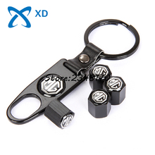 Airtight Covers 4Pcs For MG Logo MG3 MG5 6 7 GT GS Car Wheel Tire Valve Stems Caps Stainless Steel With Leather Buckle Keychain