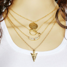 European And American Fashion Necklace Women Jewelry Angel Wings Multi-layer Necklace Vintage Charms Necklaces Christmas Gift(China)