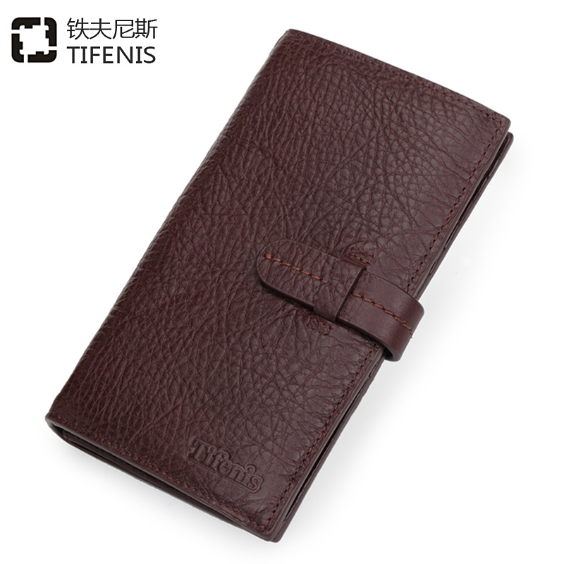 TIFENIS High-quality long Wallet casual purse with multi card slots genuine leather business Three folds mens handmade<br><br>Aliexpress