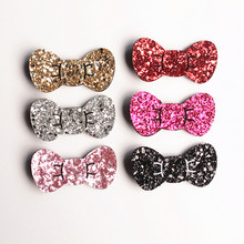 New Korean Style Princess Girls Glitter Felt Hair Clips Bows 7cm Hair Bows Gold Silver Toddlers Barrettes 20pc/lot Hairpins(China)