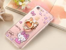DOYAEL Luxury Colorful Lovely Hello Kitty Phone Case with Holder For iPhone 7 7 plus Transparent Clear Phone Back Cover Case