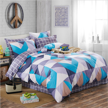 100%Cotton Stripes/Plaid/Triangle/Geometric Pattern Duvet Cover Bed Sheet Set Green/Pink/Gray/Black/White/Blue Bedding Set