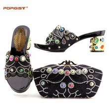 Women Wedding Shoes and Special Nice Bag Set Matching African Shoes and Bag Set Nigerian Shoes with Big Rhinestone Black Color(China)