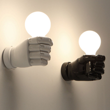 Modern Left Right Fists Wall Lamps Nordic White Black Fist Wall Lights Fixture Home Indoor Lighting Bedroom Bed Side Lamps