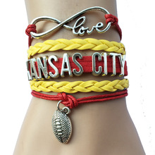 Drop Shipping Infinity Love Kansas City Province Name NFL Football Team Braceles- Red with Yellow Braid Leather Sports Handmade