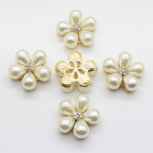 Fashion 10Pcs Sewing Craft 21 mm Flower Round Cluster Crystal  Pearl Button Lot Wedding Buckle Jewelry Craft