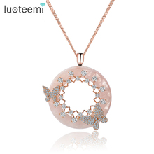 LUOTEEMI New Korea Style Elegant Big Round Pink Cream CZ Pendant with Mirco Double Butterfly Necklace Rose&White Gold-Color
