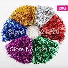20g Cheerleader pompoms (24 pieces/lot) Sports supplies Cheerleading pompons Color and handle can choose Free shipping