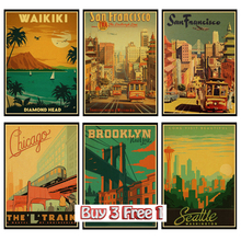 San Francisco Hawaii poster Vintage Retro poster Kraft Paper Poster Decorative Painting Home Room Decor(China)