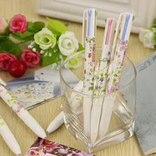 3 PCS Lovely Floral Natural Words Style 4 In1 Ballpoint Pens Office Stationery Ballpoint Pen School Supplier(China)