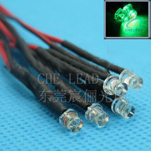 High bright Flat top 3mm led DC12V Pre Wired led water clear Green DIP LED 20mm cable prewired led