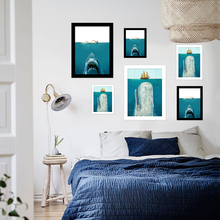 Shark Wall Pictures For Living Room Canvas Painting With Cardboard Frame Christmas Decorations For Home Decor