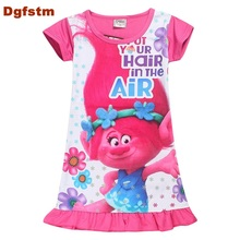 DGFSTM Children Girls Summer Dress Cartoon Trolls Straight Dresses Kids Night Gown Infantil Bath Robe Baby Girl Nightwear Brand(China)