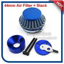 44mm Racing Air Filter Blue & Aluminum Adapter Vstack Stack Kit For 23cc 33cc 43cc 49cc Goped Stand Up Gas Scooter Motorcycle