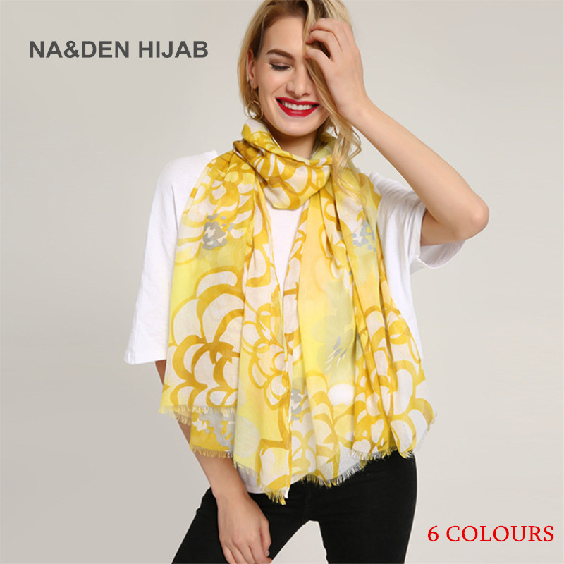 2018 hot sell Pure cotton chrysanthemum print scarf-Women Spring and summer new refreshing silk scarves Beautiful printed shawl