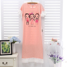 Summer  Cartoon little girl Lotus lace Round neck Short sleeves Hedging Sleep skirt