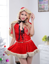 2015Novelty Sexy Red Santa Miss Dress For Christmas Costumes Halloween Party Little Red Riding Hood CosPlay Dress+Shawl 2pcs/Set