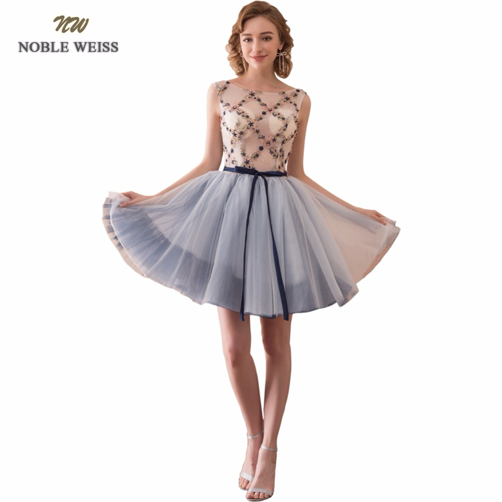 NOBLE WEISS Short Prom Dress O-Neck Embroidery Beading Junior School Prom Gown Sexy Special Occasion Dresses