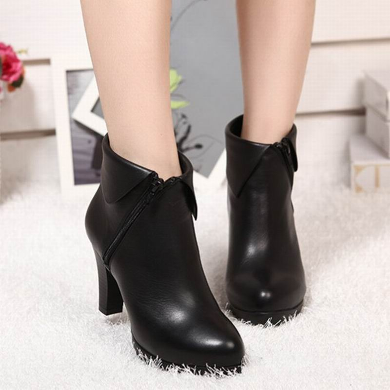 genuine Leather boots women shoes ankle boots spring women boots high heels Plus velvet winter boots<br>