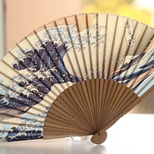 Japan Ukiyoe Painted Silk Folding Fan DIY Handcraft Party Favors Fantasy Gifts