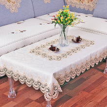 1 Piece Europe Type Waterproof Lace Table Cloth/ Korean Embroidered Tablecloth/ Modern Household Tea Table Round table Cloth(China)