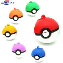 metal chain Pokemon Go Model USB Flash Drive Pocket Monster Poke Ball /Pikachu Pen Drive 4GB 8GB 16GB 32GB  Fashion pendrive