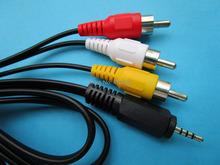 12 pcs Mini AV 2.5mm Plug to 3 Color RCA Male Plug Adapter Audio Video Cable 150cm(59inch)(China)