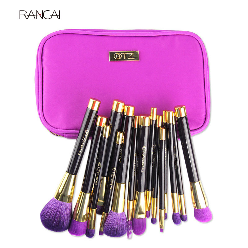Pro 15pcs TZ Makeup Brushes Set Powder Foundation Blush Eyeshadow Eyebrow Face Brush pincel maquiagem Cosmetics Kits with Bag<br>